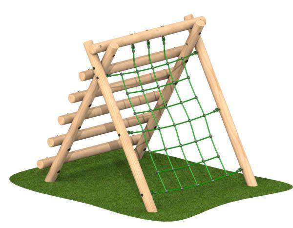 קיר טיפוס  מבולי עץ וחבלים  לחצר בית ספר